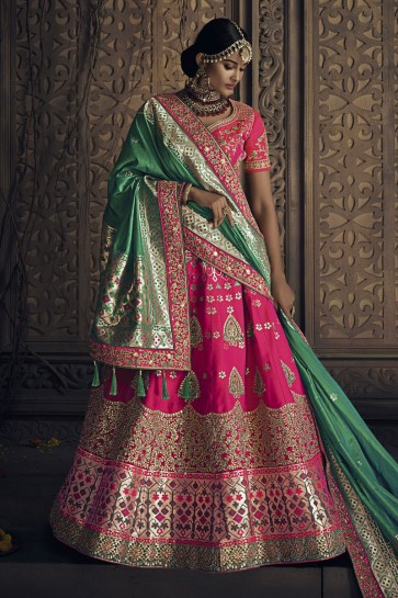 Stylish Pink Banarasi Silk Embroidered Designer Lehenga Choli With Banarasi Silk Dupatta