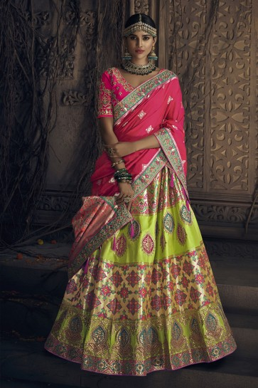 Excellent Green Banarasi Silk Embroidered Designer Lehenga Choli With Banarasi Silk Dupatta