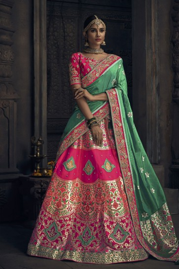 Gorgeous Pink Banarasi Silk Embroidered Designer Lehenga Choli With Banarasi Silk Dupatta