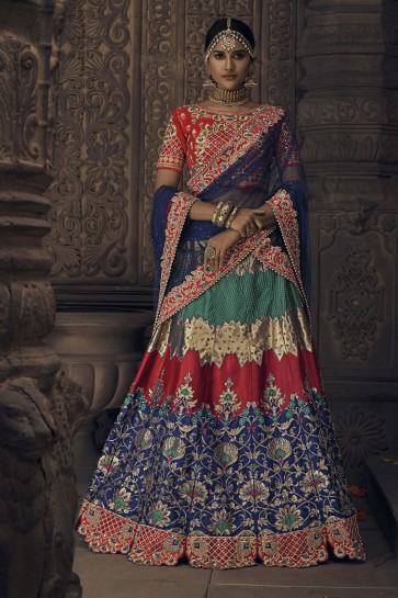 Admirable Navy Blue Banarasi Silk Embroidered Designer Lehenga Choli With Banarasi Silk Dupatta