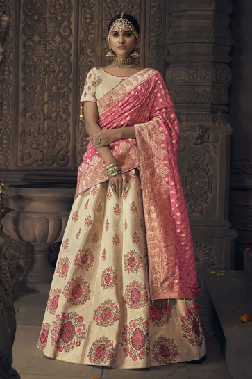 Classic Cream Banarasi Silk Embroidered Designer Lehenga Choli With Banarasi Silk Dupatta