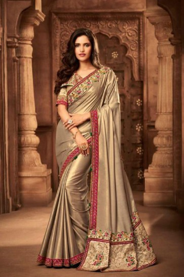 Lovely Beige Silk Embroidered Saree With Silk Blouse