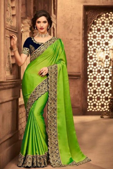 Stylish Green Embroidered Silk Saree With Silk Blouse