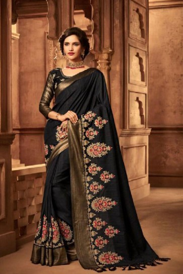Gorgeous Black Silk Embroidered Saree With Silk Blouse