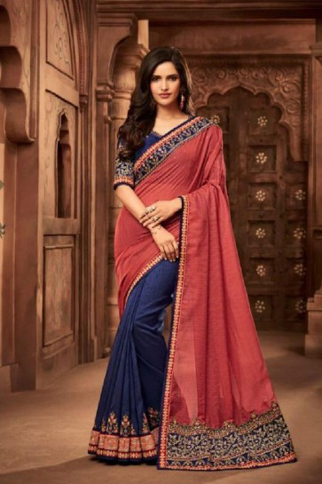 Charming Peach and Blue Silk Embroidered Saree With Silk Blouse