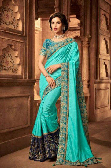 Optimum Sky Blue Silk Embroidered Saree With Silk Blouse