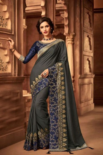 Graceful Grey Silk Embroidered Saree With Silk Blouse
