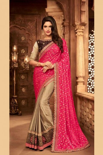Pretty Pink and Beige Silk Embroidered Saree With Silk Blouse