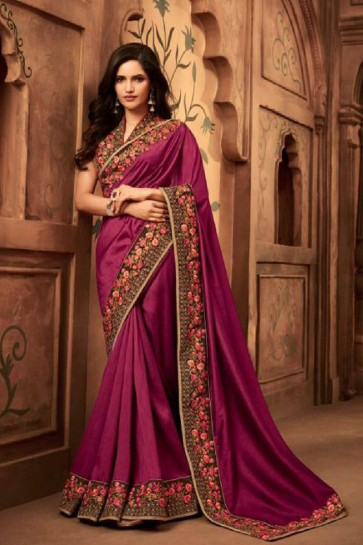 Admirable Purple Embroidered Silk Saree With Silk Blouse