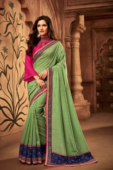 Supreme Green Embroidered Silk Saree With Silk Blouse