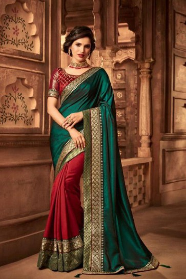 Ultimate Green and Red Silk Embroidered Saree With Silk Blouse