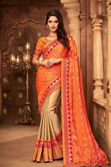 Desirable Orange and Biege Silk Embroidered Saree With Silk Blouse