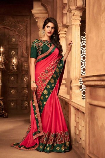 Stylish Pink Silk Embroidered Saree With Silk Blouse