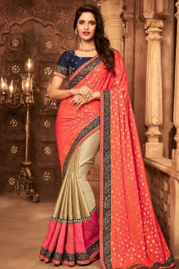 Beautiful Beige and Peach Silk Embroidered Saree With Silk Blouse