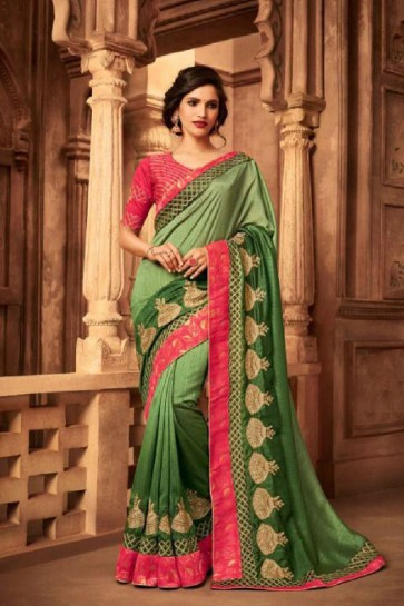 Pretty Green Silk Embroidered Saree With Silk Blouse