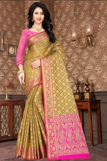 Optimum Olive Designer Kota Silk Jacquard Work Saree With Silk Blouse