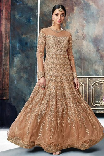 Supreme Brown Net Embroidered Anarkali Salwar Suit With Chiffon Dupatta