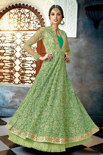 Desirable Green Net Embroidered Anarkali Salwar Suit With Chiffon Dupatta