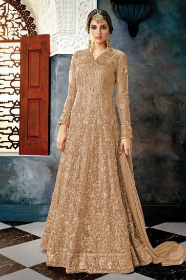 Charming Brown Net Embroidered Anarkali Salwar Suit With Chiffon Dupatta