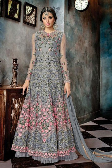 Excellent Grey Net Embroidered Anarkali Salwar Suit With Chiffon Dupatta