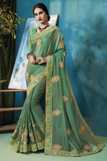 Classic Green Silk and Georgette Bridesmaid Saree With Silk Blouse