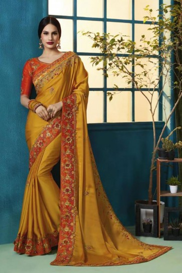 Beautiful Mustard Silk and Georgette Bridesmaid Saree With Silk Blouse