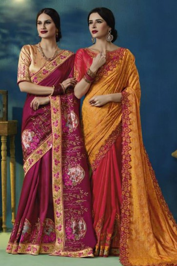 Supreme Yellow and Red Silk and Georgette Bridesmaid Saree With Silk Blouse