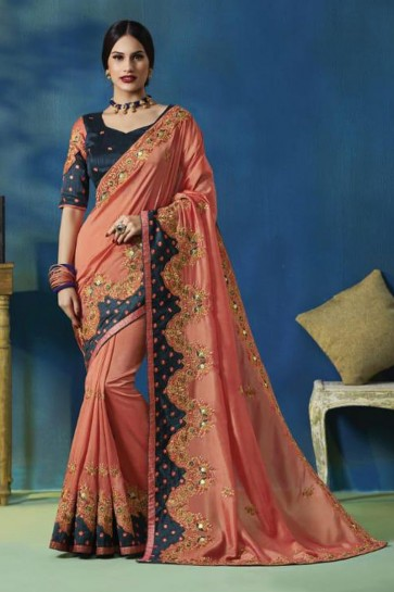 Graceful Peach Silk Bridesmaid Saree With Silk Blouse