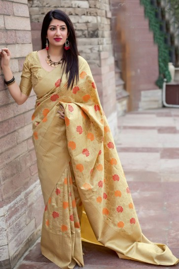 Gorgeous Beige Silk Jacquard Work Saree With Silk Blouse