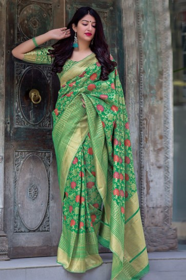 Stylish Green Silk Jacquard Work Saree With Silk Blouse