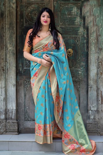 Supreme Sky Blue Silk Jacquard Work Saree With Silk Blouse