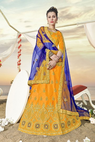 Charming Yellow Silk Embroidered Designer Lehenga Choli With Silk Dupatta