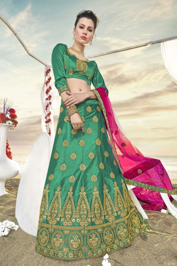 Beautiful Green Silk Embroidered Designer Lehenga Choli With Silk Dupatta