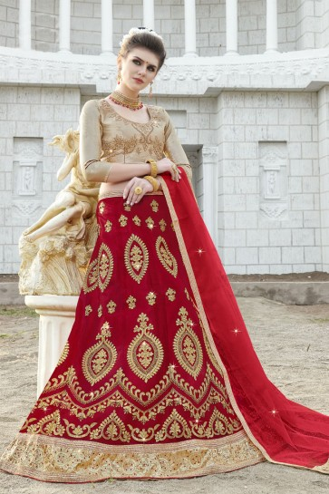 Lovely Red Net Embroidered Designer Lehenga Choli With Net Dupatta