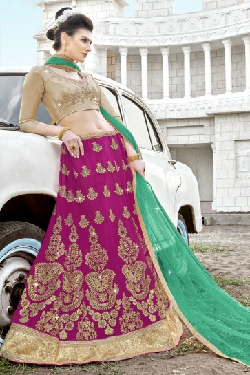 Optimum Pink Net Embroidered Designer Lehenga Choli With Net Dupatta