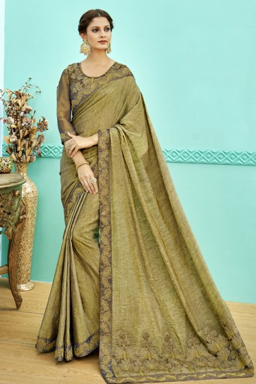 Admirable Olive Soft Weaving Embroidered Saree With Soft Weaving Blouse