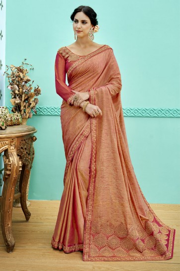 Gorgeous Rust Soft Weaving Embroidered Saree With Soft Weaving Blouse