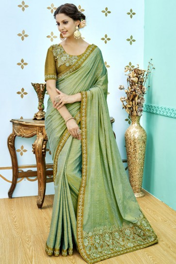 Beautiful Green Soft Weaving Embroidered Saree With Soft Weaving Blouse