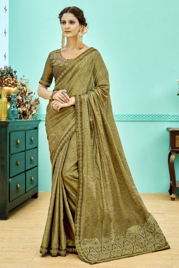 Supreme Mehendi Green Soft Weaving Embroidered Saree With Soft Weaving Blouse