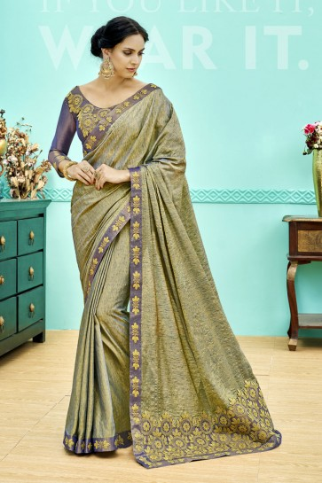 Ultimate Green Soft Weaving Embroidered Saree With Soft Weaving Blouse