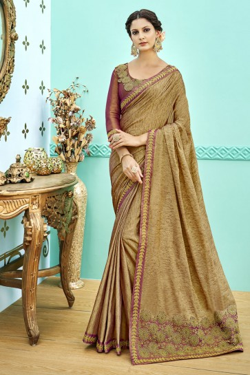 Charming Beige Soft Weaving Embroidered Saree With Soft Weaving Blouse
