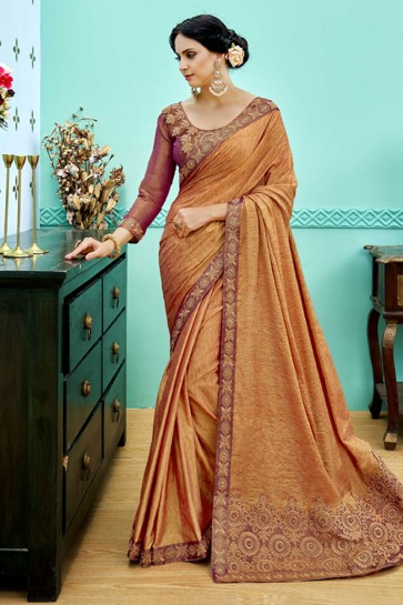 Graceful Orange Soft Weaving Embroidered Saree With Soft Weaving Blouse