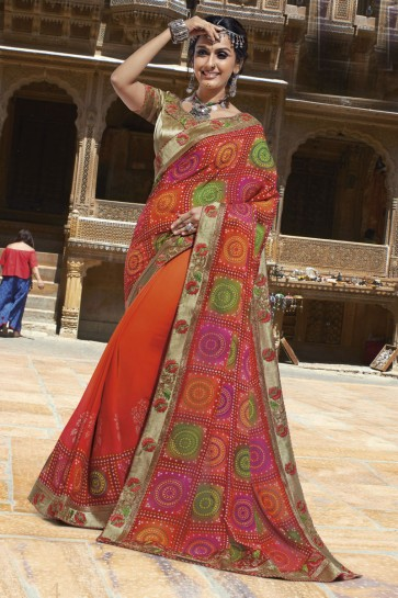 Gorgeous Orange Georgette Lace Work Casual Saree With Georgette Blouse