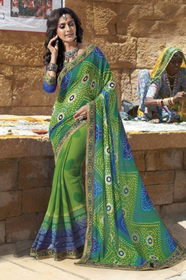 Charming Green Georgette Lace Work Casual Saree With Georgette Blouse