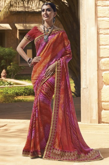 Admirable Orange and Pink Georgette Lace Work Casual Saree With Georgette Blouse