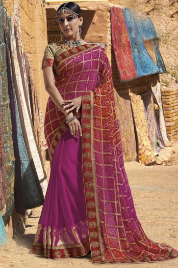 Optimum Pink Georgette Lace Work Casual Saree With Georgette Blouse