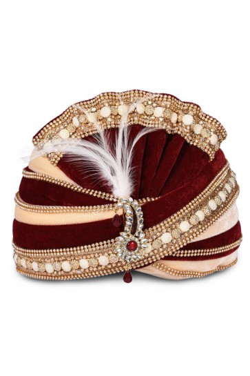 Charming Maroon Velvet Stone Work Wedding Safa