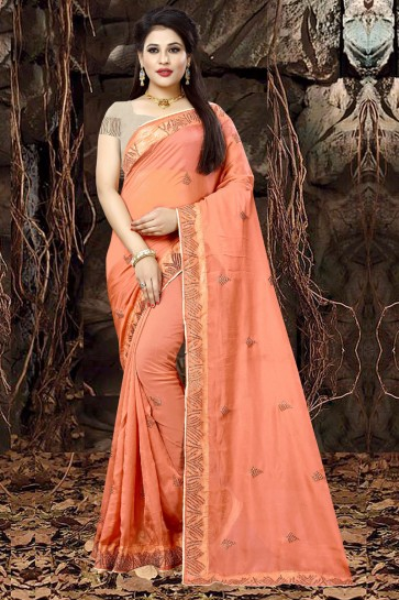 Beautiful Peach Organza Party Wear Embroidered Saree With Banglori Silk Blouse