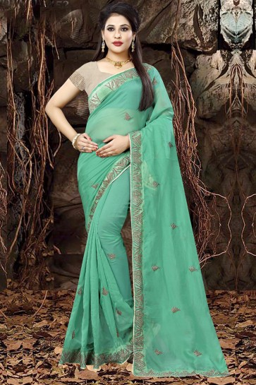 Stylish Turquoise Organza Party Wear Embroidered Saree With Banglori Silk Blouse