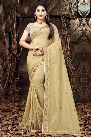 Gorgeous Beige Organza Party Wear Embroidered Saree With Banglori Silk Blouse
